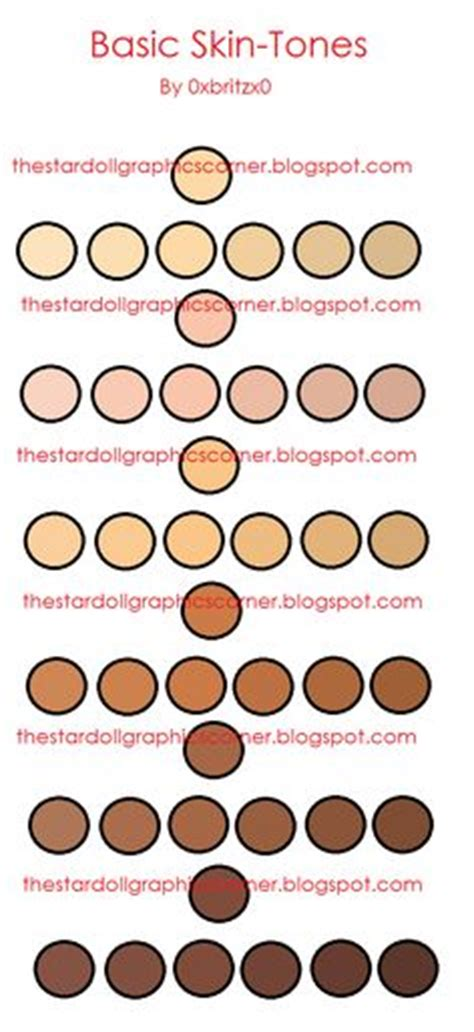 skin color hex code rgb and hex codes for different skin and hair tones