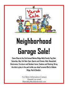 garage sale flyer template word dakota ridge community garage sale may 3rd 2014