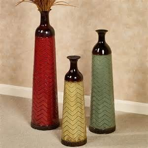 chevron decorative metal floor vase set