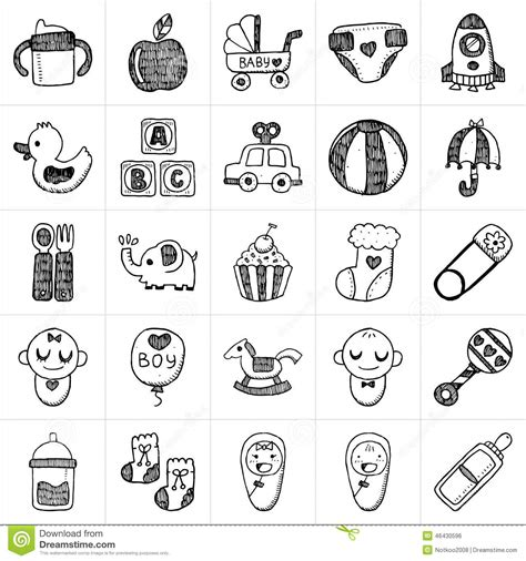 doodle baby free doodle baby icon sets stock vector image of symbol