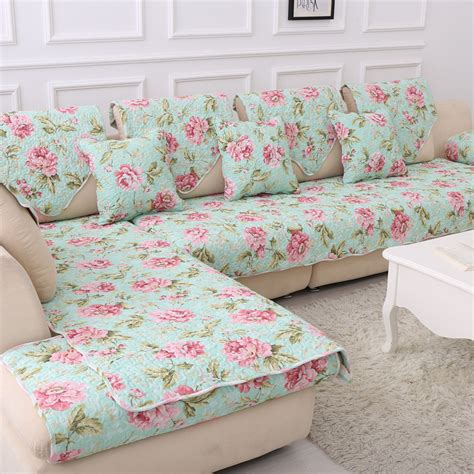 floral couches 100 cotton corner blanket printed funda sofa cover