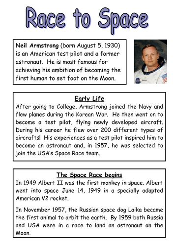 ronaldo biography ks2 neil armstrong reading comprehension and questions by