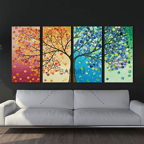 4 piece frameless colourful leaf trees canvas painting aliexpress com buy unframed colourful leaf trees canvas