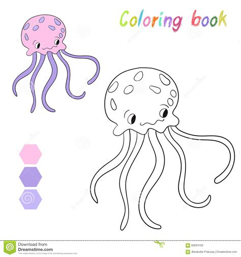 coloring book vector coloring book jellyfish layout for stock vector