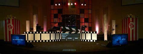 movie themed concert london cinema church stage design ideas