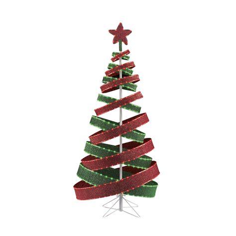 6 red green tape ribbon tree