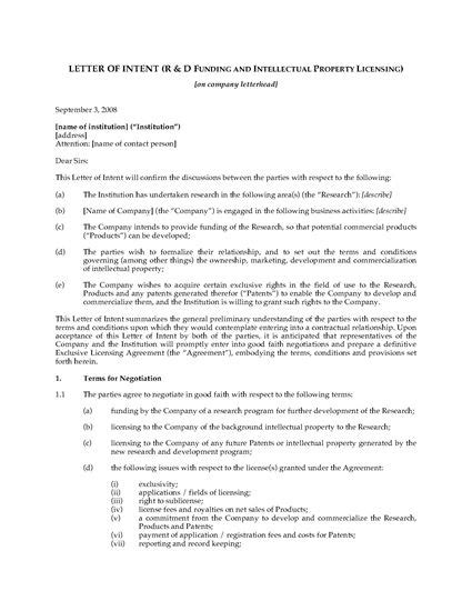 Letter Of Intent Research letter of intent for research and development forms and business templates megadox