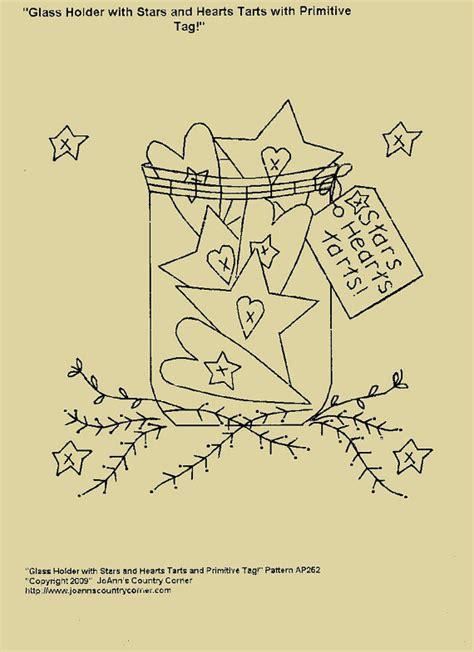 Stitch Name Tag Holder M102 primitive stitchery e pattern glass holder with and