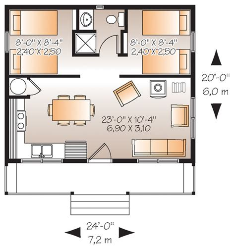 Cabin Style House Plan   2 Beds 1 Baths 480 Sq/Ft Plan #23