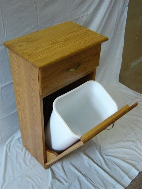 crafted new solid oak wood kitchen garbage bin