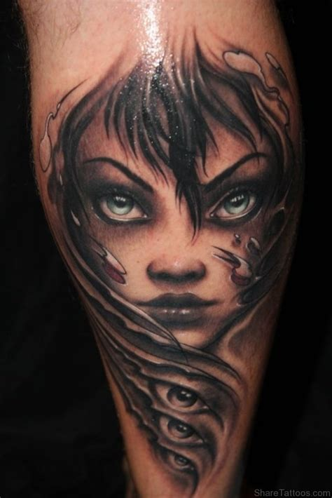 woman face tattoo evil st1135 evil faces tattoos