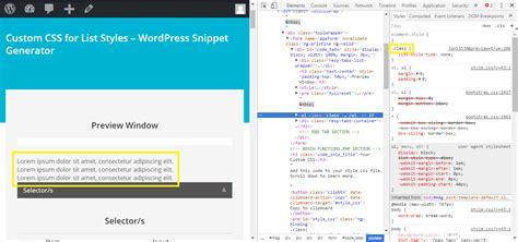 theme chrome generator custom css for list styles wordpress snippet generator