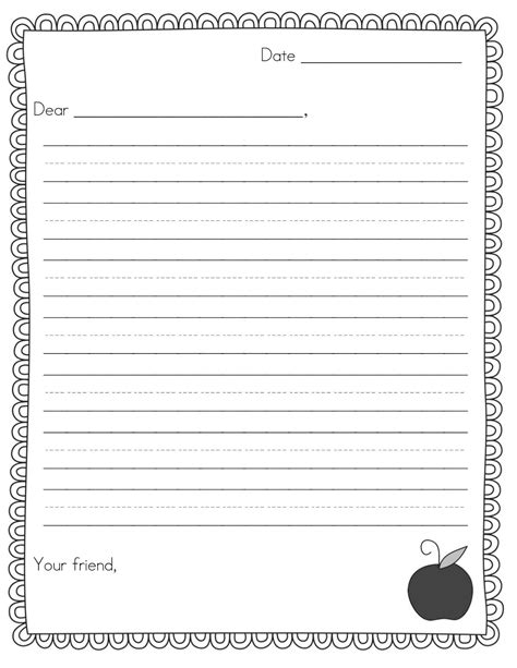 Friendly Letter Template For 2nd Grade Theveliger Letter Writing Template