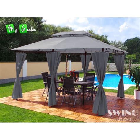 4x3 pavillon tonnelle 4x3 pavillon de jardin minzo grise achat