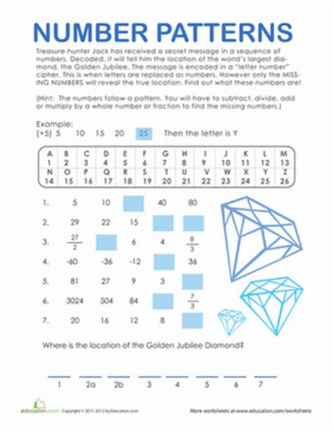 pattern math worksheets 4th grade number patterns treasure hunt worksheet education com