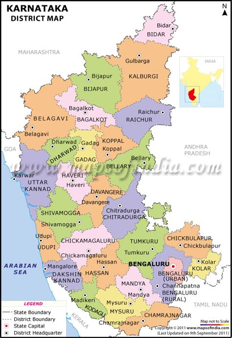Karnataka District Map Outline by Karnataka District Map District Map Of Karnataka