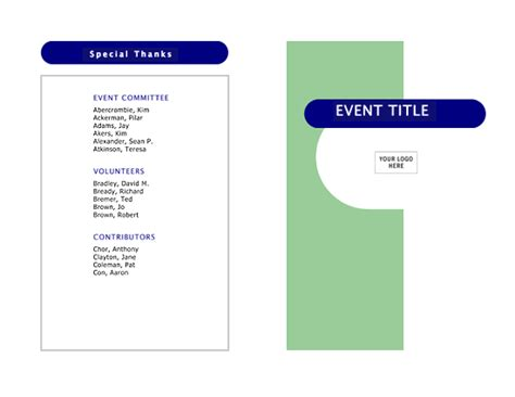 Event Program Template Publisher by Event Program Half Fold 4 Pages Office Templates