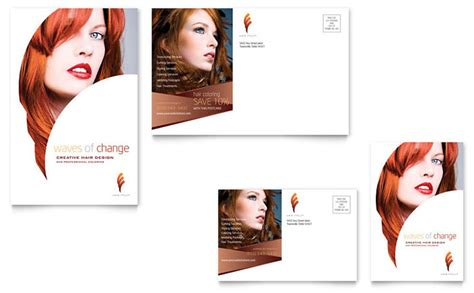 Hair Design Templates Hair Stylist Salon Postcard Template Design