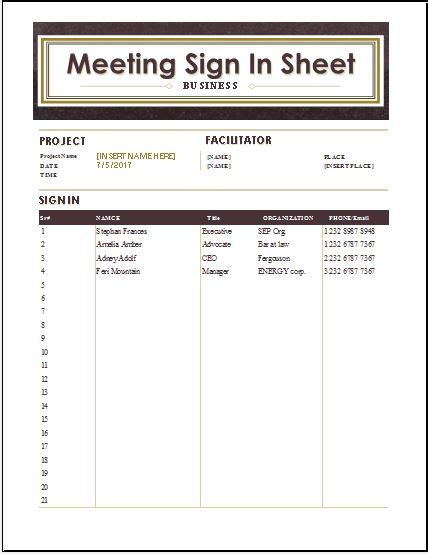 Meeting Sign In Sheets Ideas Meeting Sign In Sheet Parent Student Meeting Sign In