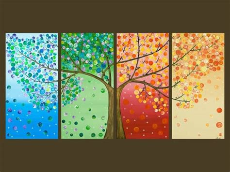 Painting 4 Seasons by The Gallery For Gt Seasons Tree Painting