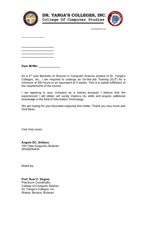 exle of application letter for ojt information technology ojt application letter