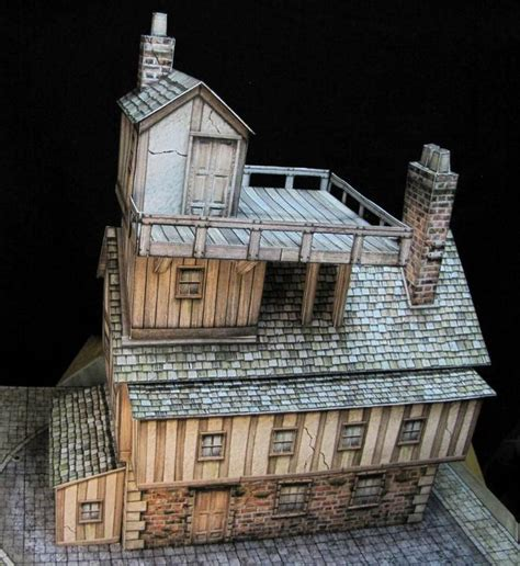 papercraft building and house on