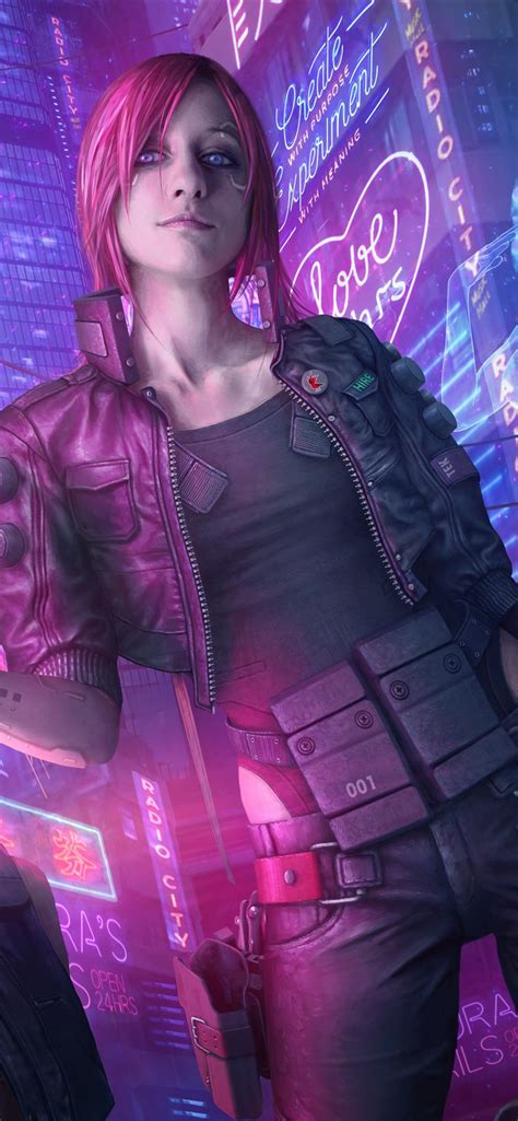 wallpaper cyberpunk  pink hair girl gun city