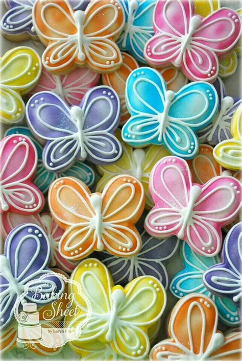 butterfly cookies air brushed decorated cookies