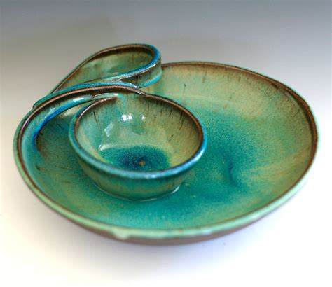 Handmade Clay - chip and dip handmade ceramic dish from ocpottery on etsy