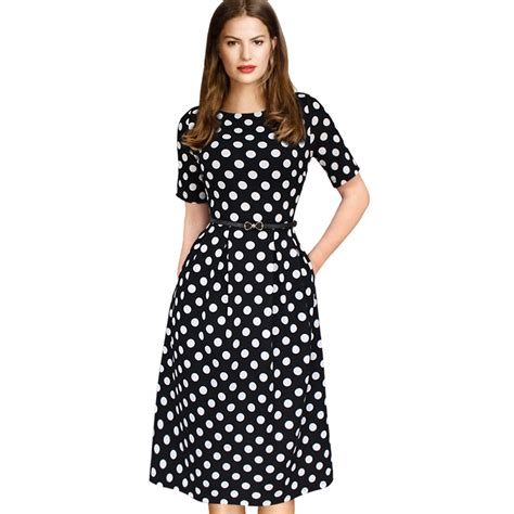 polka dot belted tunic pinup dress