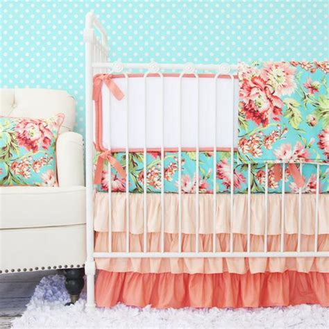 baby nursery bedding set coral camila ruffle baby bedding set crib set coral teal