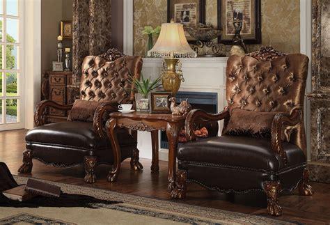 piece acme dresden accent chair golden brown velvet