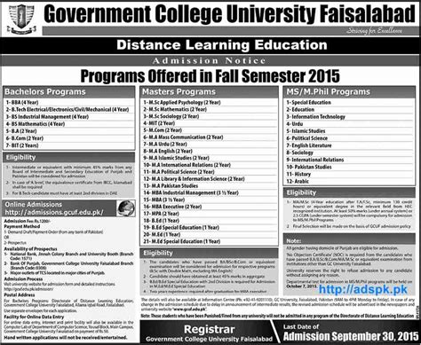Gcu Mba Admission 2015 by Gcu How To Apply Govt College Universit Faisalabad