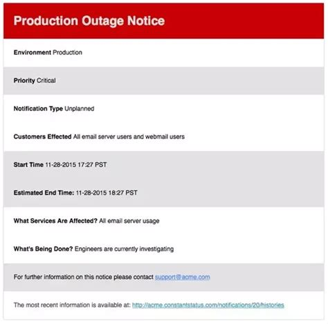 outage notification template what are exles of an email to send when an it