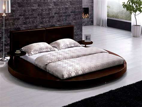 round bed contemporary brown leather headboard round king platform
