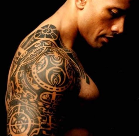 tattoo on rock s shoulder 20 famous the rock awesome half sleeve polynesian tattoos