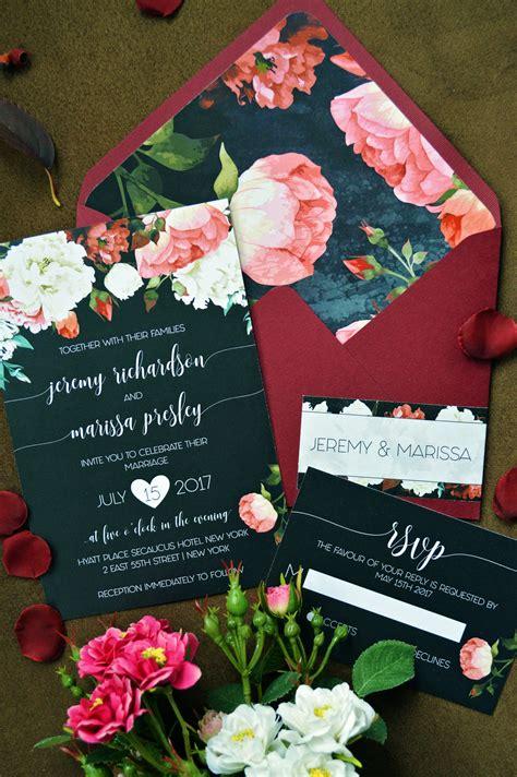 Unique Floral Wedding Invitations by Wedding Invitation Invitation Marsala Wedding Invitation