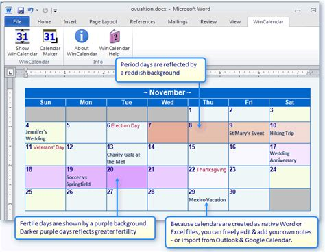 create  period fertility calendar  word  excel