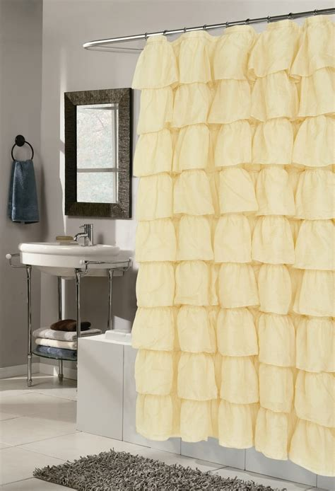 Yellow Ruffle Curtains Porter Fabric Shower Curtain Great Deals Yellow And This