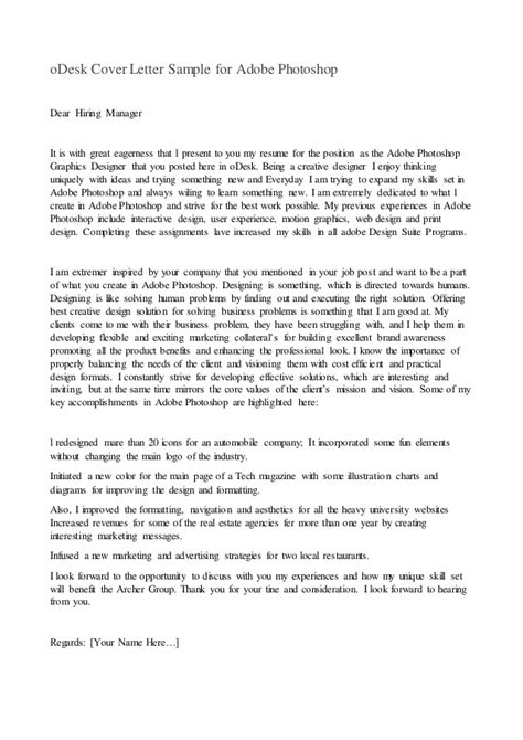 odesk cover letter odesk cover letter sle for adobe photoshop