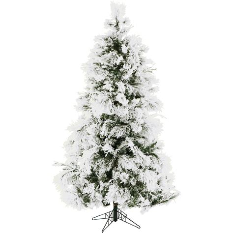 ffsn075 5sn 7 5 ft flocked snowy pine tree with clear led lighting ffsn075 5sn