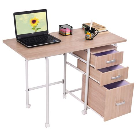 Laptop Desk With Drawers Folding Computer Laptop Desk Wheeled Home Office Furniture With 3 Drawers New Ebay