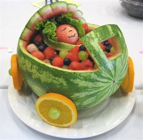 baby shower watermelon carriage favs