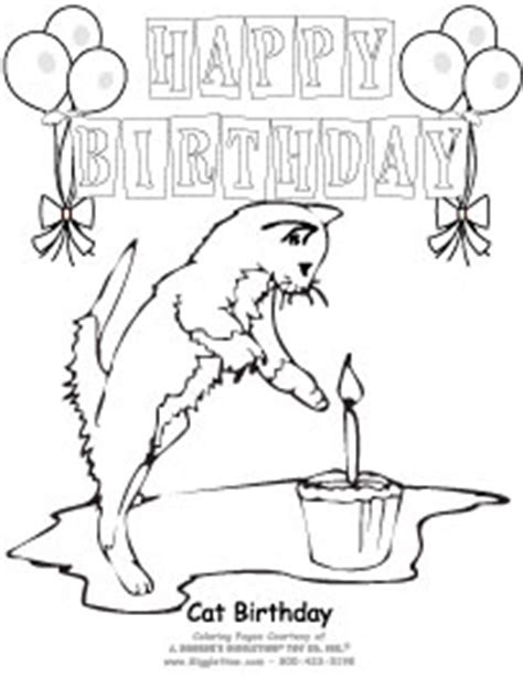 birthday cat coloring page birthday animals giggletimetoys com