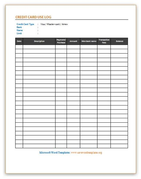 card list template credit card use log template save word templates