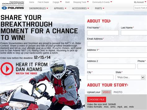 2014 Contests And Sweepstakes - 2014 polaris and next level riding clinics contest