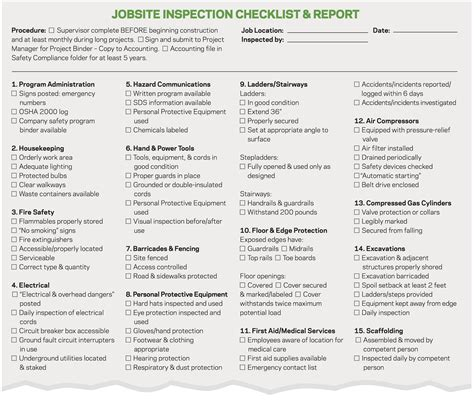 Good Form Jobsite Safety Checklist Remodeling Workers Compensation Safety Jobsite Safety Construction Site Safety Checklist Template