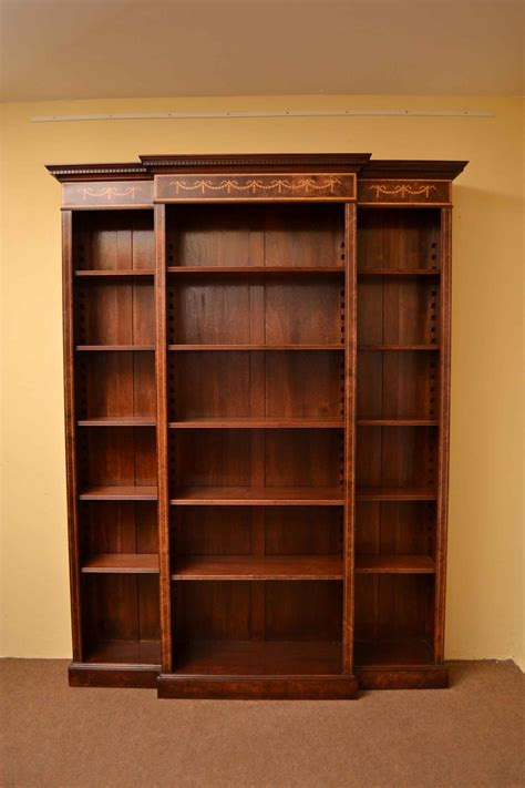 with shelves regent antiques bookcases sheraton breakfront open bookcase adjustable shelves