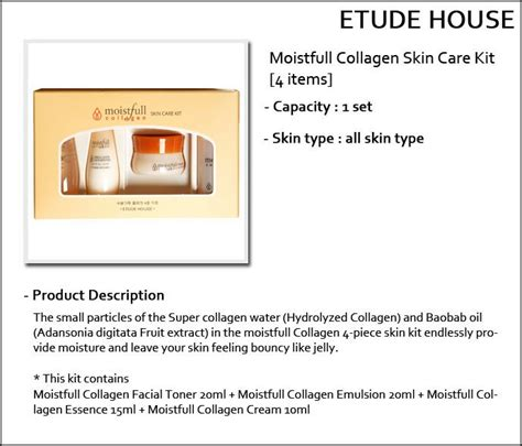 Etude House Moistfull Collagen Sle Trial Kit 2 Pcs etude house sle moistfull collagen skin care kit 4 items toner emulsion essence
