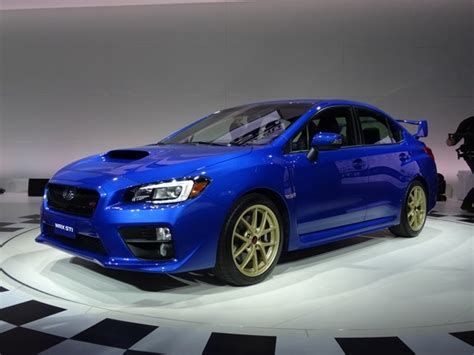 blue subaru 2015 subaru wrx sti storms into detroit kelley blue book